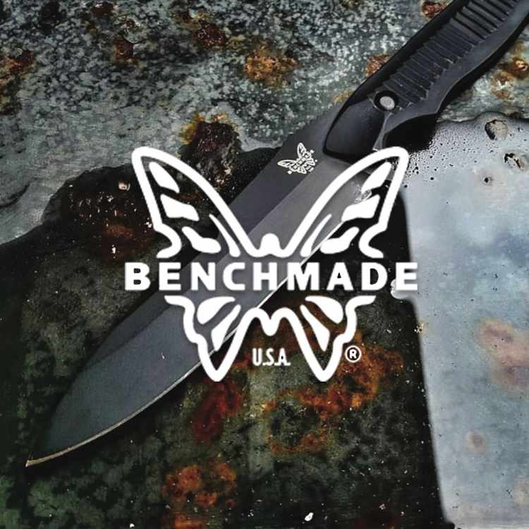Benchmade Knives logo with a Benchmade knife on metal