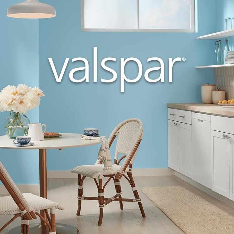 Valspar blue-painted bathroom with logo
