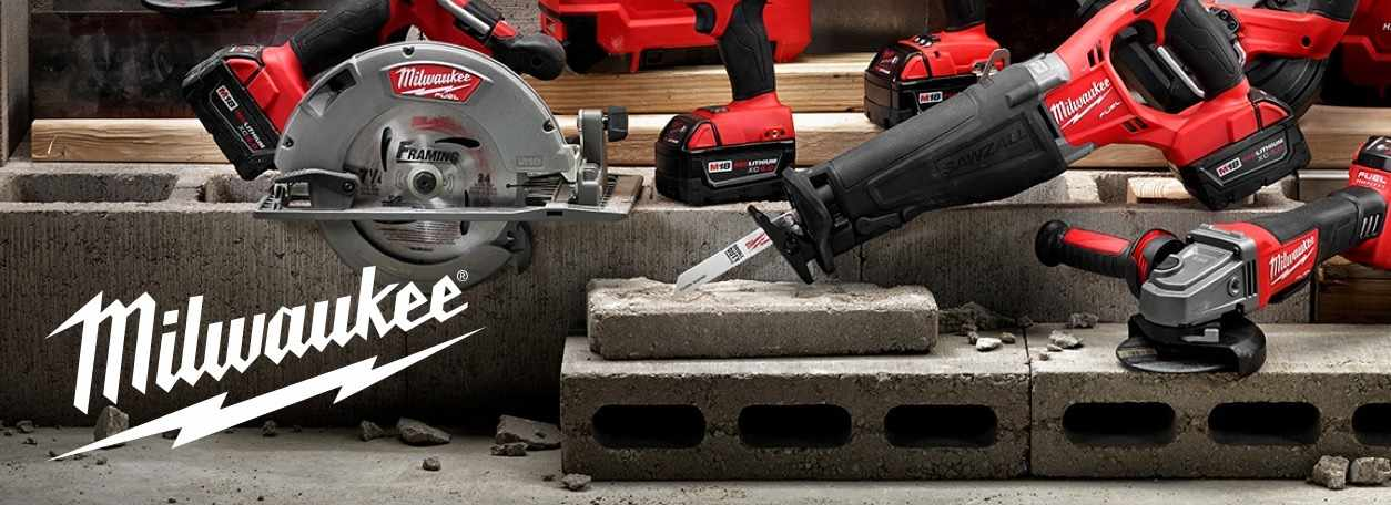 Milwaukee power tools and logo