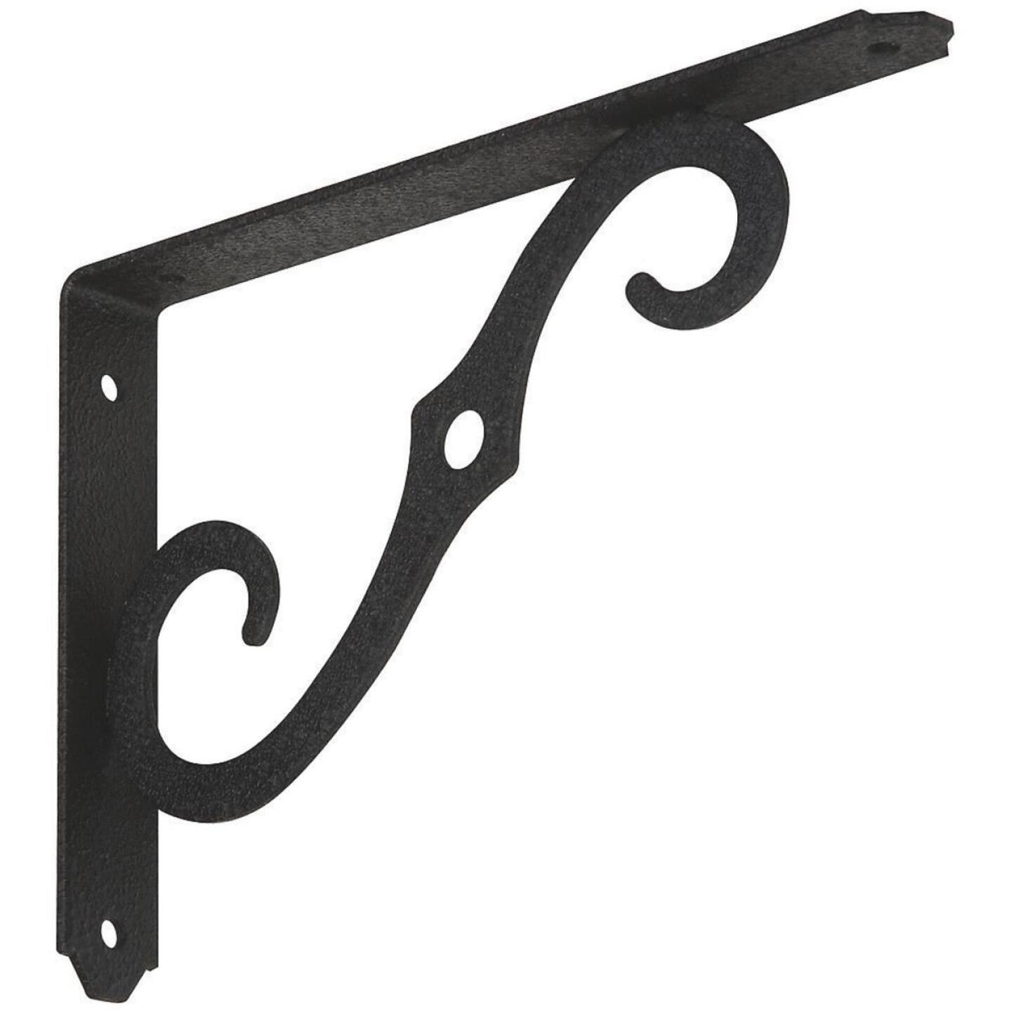 National 152 8 In. D. x 5-1/2 In. H. Black Steel Ornamental Shelf Bracket/Plant Hanger Image 1