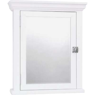 Zenith American White 22.25 In. W x 27.25 In. H x 5.75 In. D Single Mirror Surface Mount Crown Pediment Medicine Cabinet