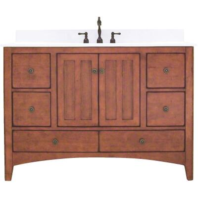 Sunny Wood Expressions Warm Cinnamon 48 In. W x 34 In. H x 21-1/4 In. D Vanity Base, 2 Door/6 Drawer
