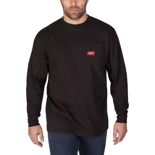 Milwaukee Medium Black Long Sleeve Men's Heavy-Duty Pocket Shirt