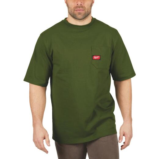 Milwaukee XL Olive Green Short Sleeve Men's Heavy-Duty Pocket T-Shirt
